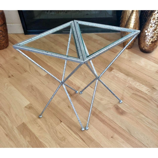 Contemporary Uttermost Modern Iron & Tempered Glass Tripod Accent Tables - a Pair For Sale - Image 3 of 13