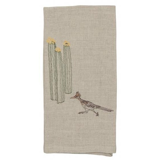 Roadrunner and Organ Pipe Cacti Tea Towel For Sale - Image 5 of 9