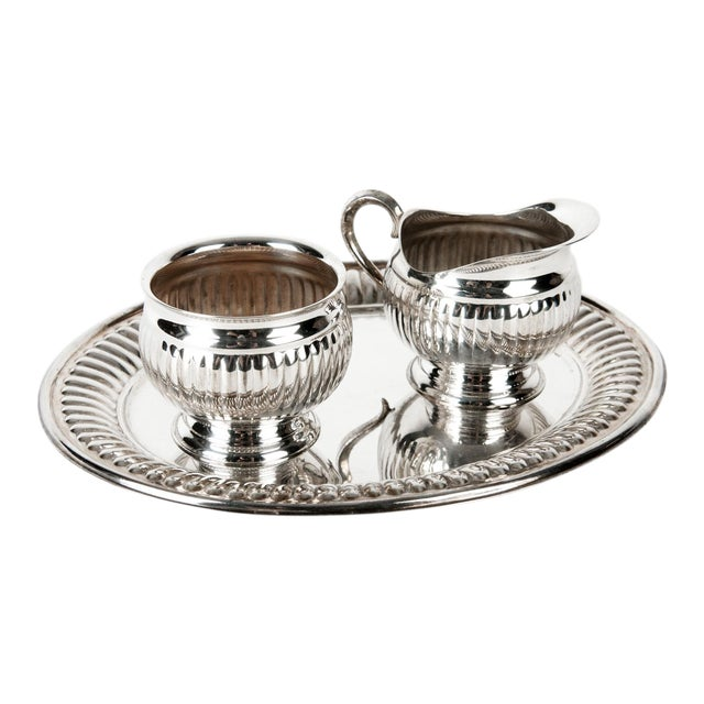 Silverplate Creamer and Sugar Set of 3 For Sale