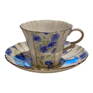 1920s Royal Albert Crown Blue Pansy Teacup and Saucer For Sale