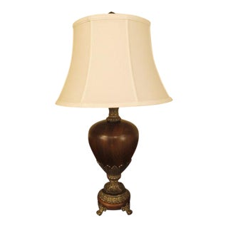 Wood & Metal Urn Shaped Table Lamp For Sale