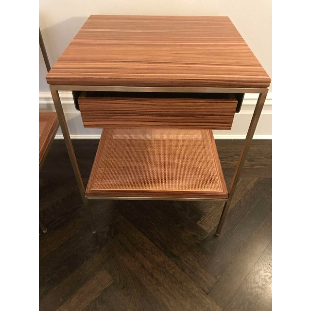 Wood and Brass Bedside Tables - a Pair - Image 3 of 6