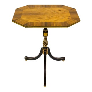 Italian Tiger Maple and Black Lacquer Side or Occasional Table For Sale