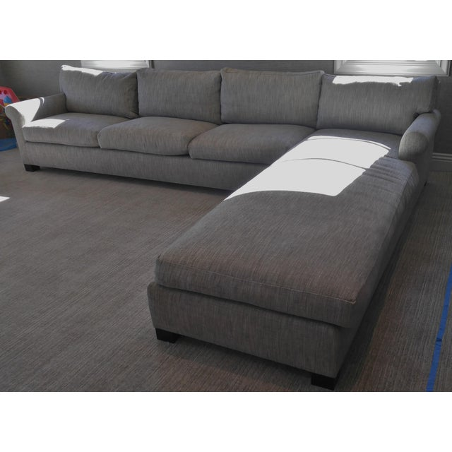 Sectional Sofa With Long Chaise Lounge, Down Construction in Colfax and Fowler Fabric F4226-09 Arundel - Silver Overall...
