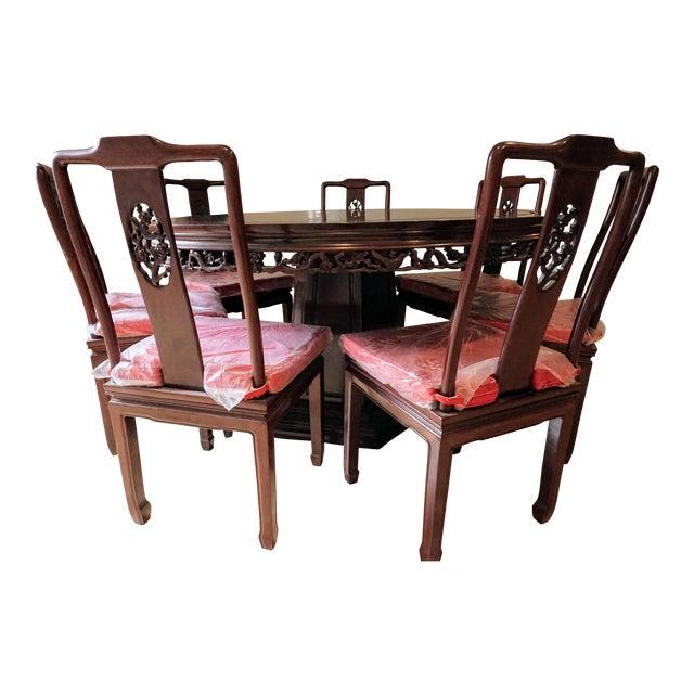 Large Asian Dining Set, Round - Image 1 of 10