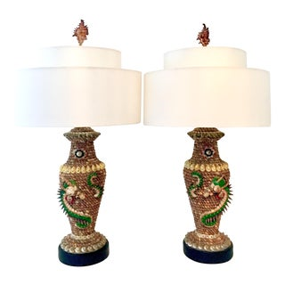 Tony Duquette Style Seashell Dragon Motif Table Lamps - A Pair