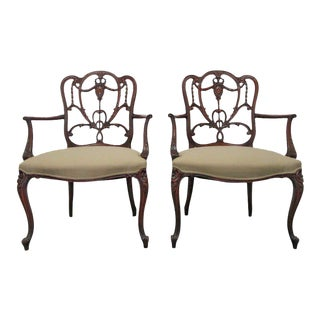Pair of Hepplewhite Style Armchairs For Sale