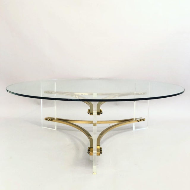 Charles Hollis Jones Brass, Glass, and Lucite Coffee Table For Sale - Image 10 of 10