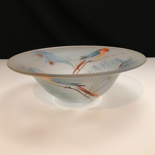 Art Deco Hand Painted Parrots and Floral Glass Decorative Bowl For Sale - Image 3 of 8