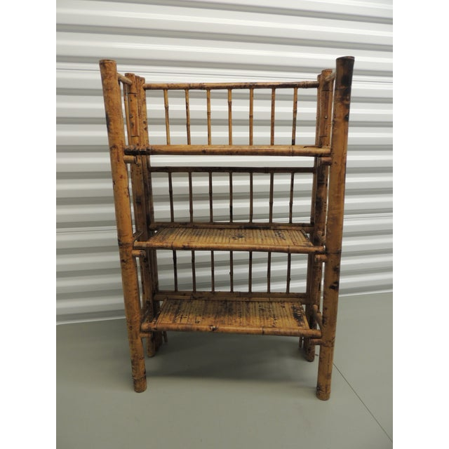 Antique English Country Faux Bamboo Folding Etagere - Image 3 of 6