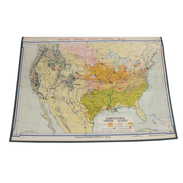 Vintage Schoolhouse Agricultural Usa Map Chairish