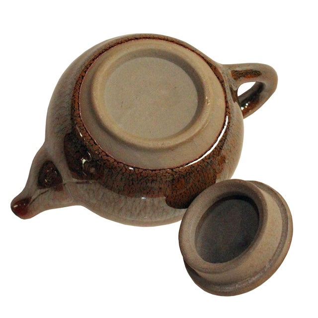2010s Chinese Handmade Jianye Clay Bronze Brown Glaze Decor Teapot For Sale - Image 5 of 7
