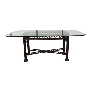 Chinese Chippendale Glass Topped Dining Table For Sale