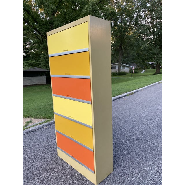Mid-Century Modern Vintage Mid Century Orange and Yellow Steel Tab Office Cabinets For Sale - Image 3 of 13