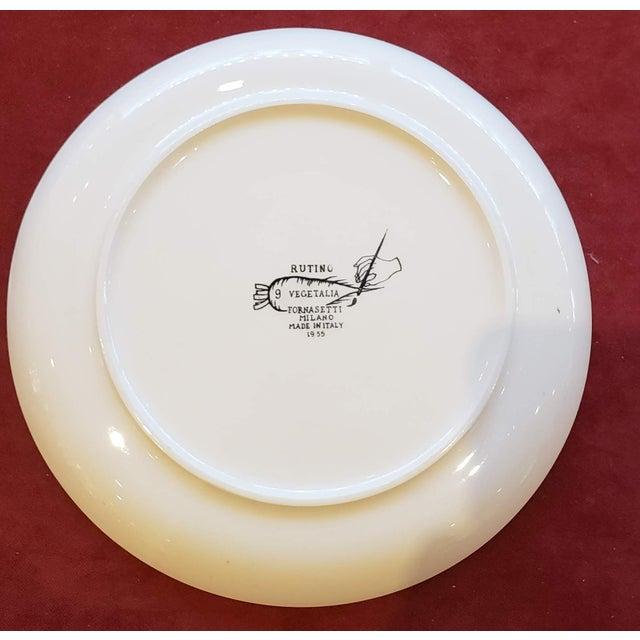 Piero Fornasetti Pottery Vegetalia Plate, #9 Rutino, 1950s. For Sale In New York - Image 6 of 7
