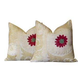Cream Suzani Square Pillow, Pair