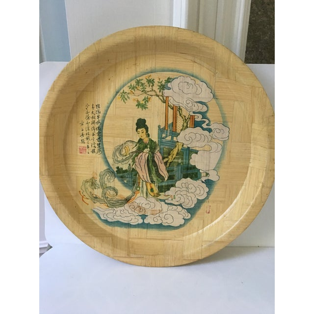 Asian 1960s Vintage Hand Painted Bamboo Drink Tray For Sale - Image 3 of 10