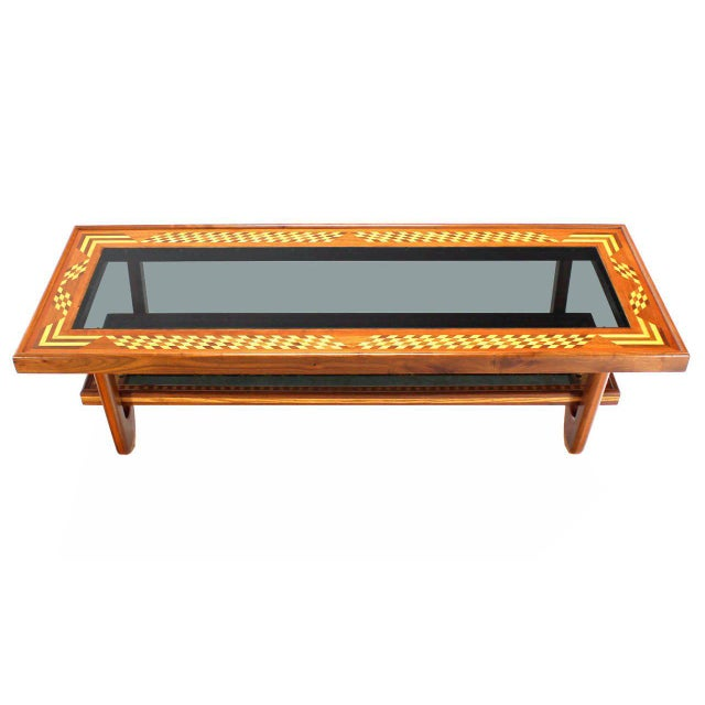 Walnut Smoked Glass Top Marquetry Design Long Coffee Table For Sale - Image 9 of 9