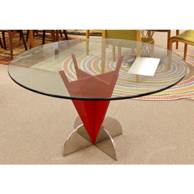 Ettore Sottsass Contemporary Modern Memphis Ettore Sotsass Style Red Iron Glass Dining Table For Sale - Image 4 of 9