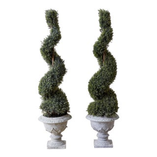 Pair of Faux Spiral Cypress Trees in Urns For Sale