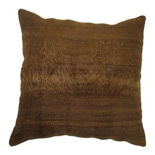 Brown Mohair Rug Pillow