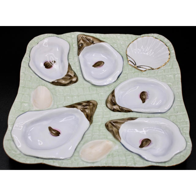 Coastal 1960s Mint Green Oyster Plate For Sale - Image 3 of 11