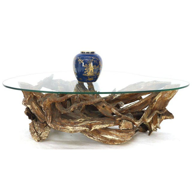 1960s Gesso Washed and Stained Kidney Shape Glass Top Natural Driftwood Coffee Table For Sale - Image 5 of 13