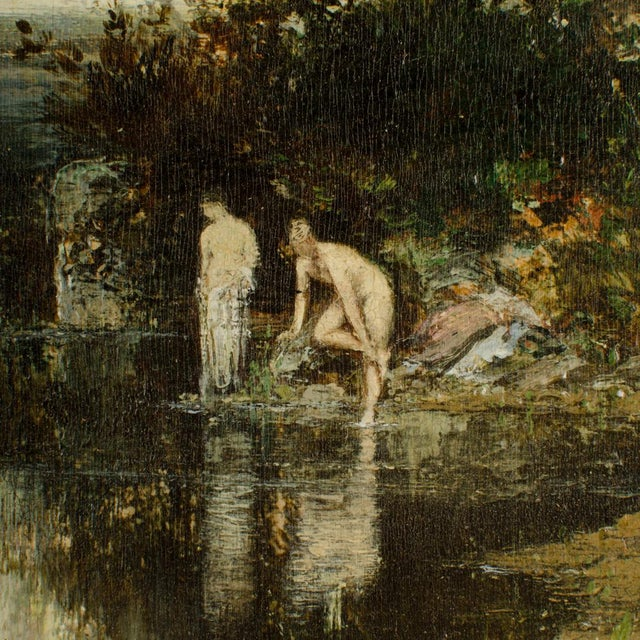 """Green 19th Century """"Quick Dip"""" Figurative Oil Painting, Framed For Sale - Image 8 of 13"""