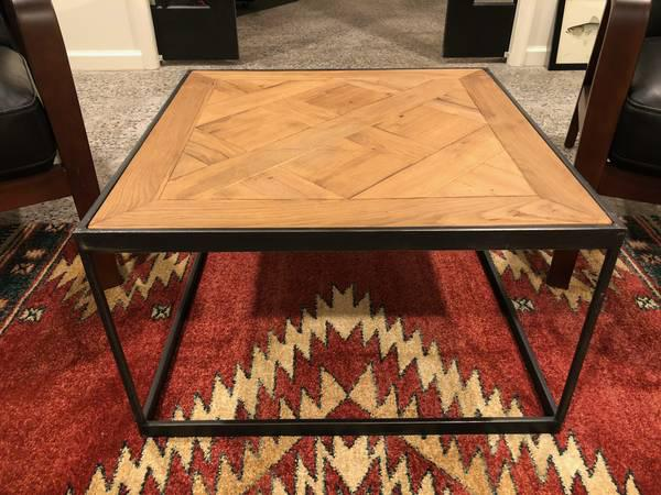 Restoration Hardware Restoration Hardware Oak Metal Coffee Table For Sale    Image 4 Of 4