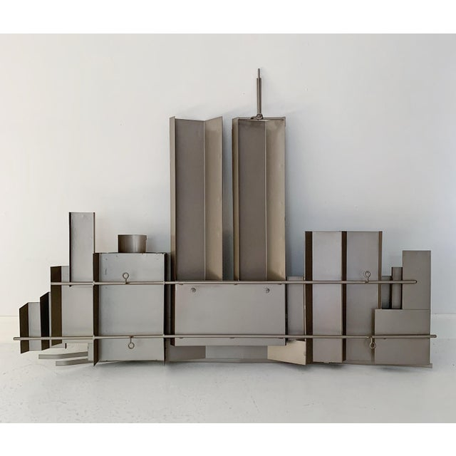 Curtis Jere World Trade Center Twin Towers Metal Wall Sculpture For Sale In Minneapolis - Image 6 of 7