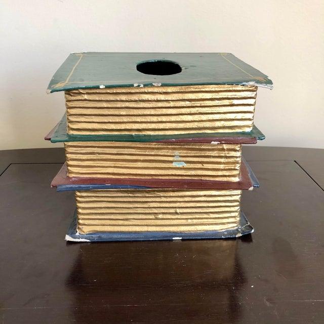 Trompe l'Oeil Papier Mache Stacked Books Tissue Box Cover For Sale - Image 4 of 9