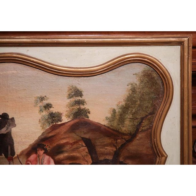 Gold 19th Century French Hand Painted Wall Panels With Gilt Accents - a Pair For Sale - Image 8 of 8