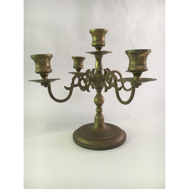 Vintage Solid Brass 5 Light Candelabras - A Pair - Image 2 of 5