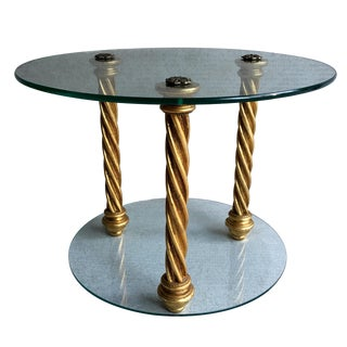 Italian Gold Leaf & Glass Side Table