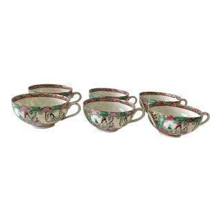 1950s Rose Medallion Cups - Set of 11 For Sale