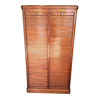 Antique 1930s French Mahogany Roll Top Cabinet For Sale