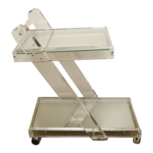 Mid-Century Lucite Tea Cart with Two Mirrored Shelves For Sale
