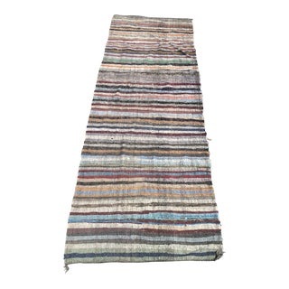 "1960s Art Deco Turkish Jijim Flat Weave Wide Wool Runner - 4'10""x12'9"""