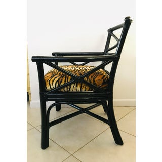 Lane Venture Black Rattan Arm Chair Tiger Animal Print Preview