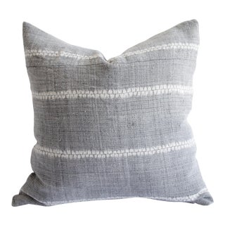 Vintage Woven Gray Linen Pillow With Off-White Pattern For Sale