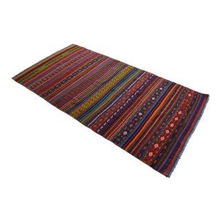 Masterpiece Turkish Kilim Rug Hand Woven Braided Oushak Jajim Area Rug - 63″ X 125″ For Sale
