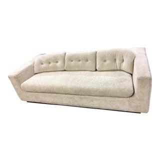 Mid-Century White Fur Sofa
