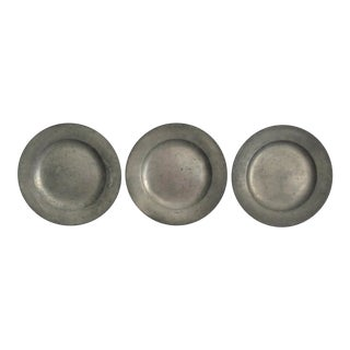 Antique Pewter Plates, Set of 3, Continental For Sale