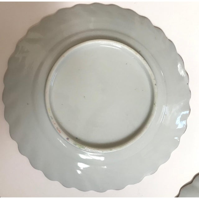 Antique White 19th Century Chinese Export Rose Medallion Porcelain - Set of 12 Saucers For Sale - Image 8 of 10