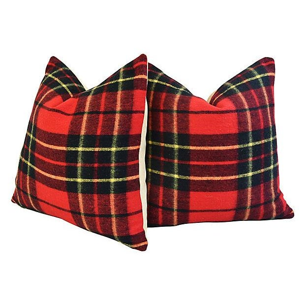 "Scottish Tartan Plaid Wool Feather/Down Pillows 24"" Square - Pair For Sale In Los Angeles - Image 6 of 10"
