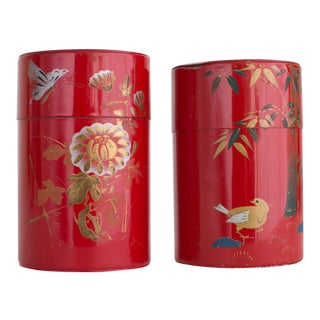 Vintage Hand Painted Chinese Tin Tea Jars - A Pair For Sale