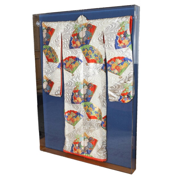 Silk Japanese Ceremonial Kimono Framed in a Lucite Box For Sale - Image 7 of 7
