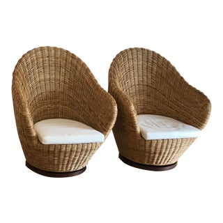 1970s Boho Chic Wicker Swivel Chairs - a Pair For Sale
