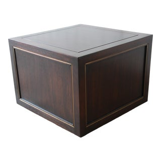 Edward Wormley for Dunbar Mahogany and Brass Cube End Table For Sale