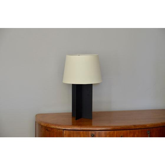 """Modern Contemporary """"Croisillon"""" Matte Black Steel and Parchment Lamp For Sale - Image 3 of 8"""